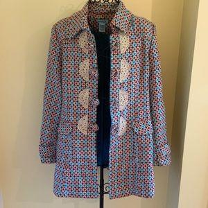 Funky Kenzie Girl Graphic Pattern Wool Coat Sz L